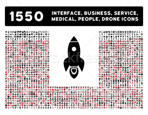 Rocket Icon and More Interface, Business, Tools, People, Medical, Awards Flat Glyph Icons Stock photo © ahasoft