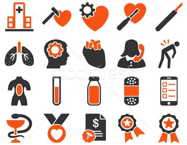 Orvosi ikonok ikon gyűjtemény stílus rajzolt narancs Stock fotó © ahasoft