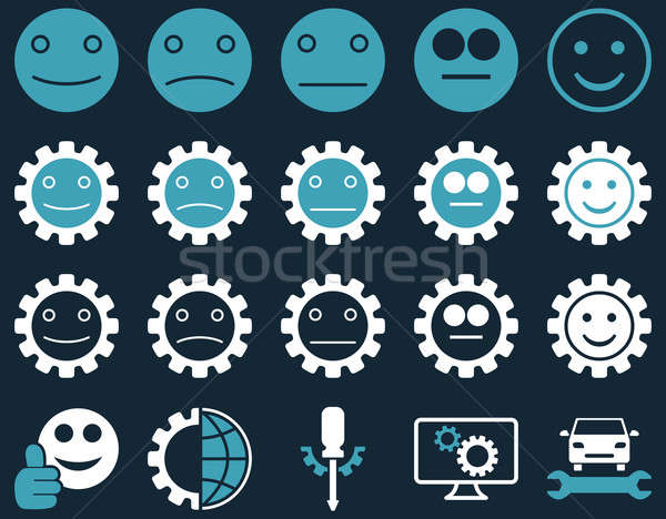 Ferramentas sorrir engrenagens ícones estilo Foto stock © ahasoft