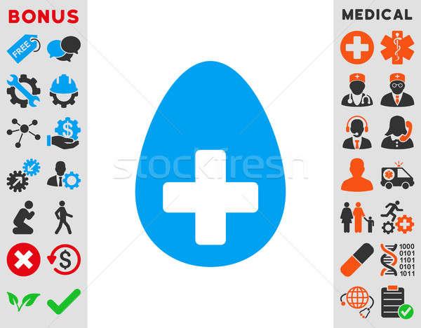 Meg tojás ikon stílus szimbólum kék Stock fotó © ahasoft