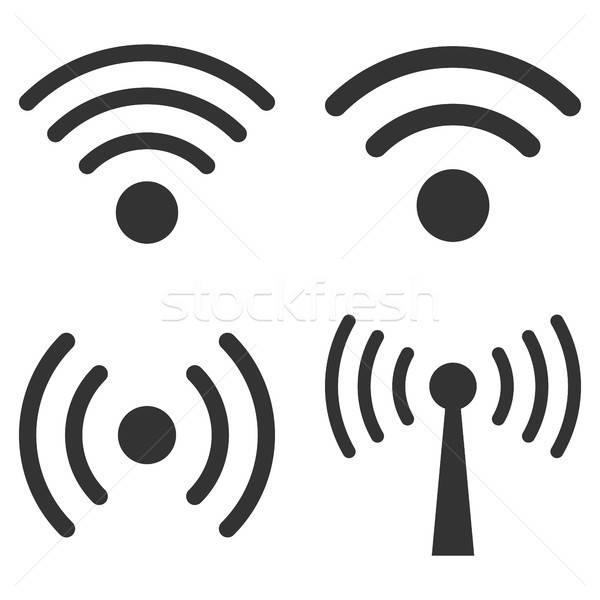 Wifi jel vektor ikon gyűjtemény gyűjtemény stílus Stock fotó © ahasoft
