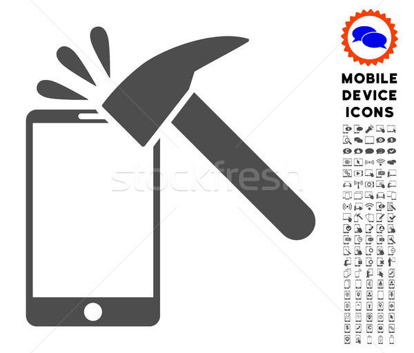 Hammer Break Smartphone Icon with Set Stock photo © ahasoft