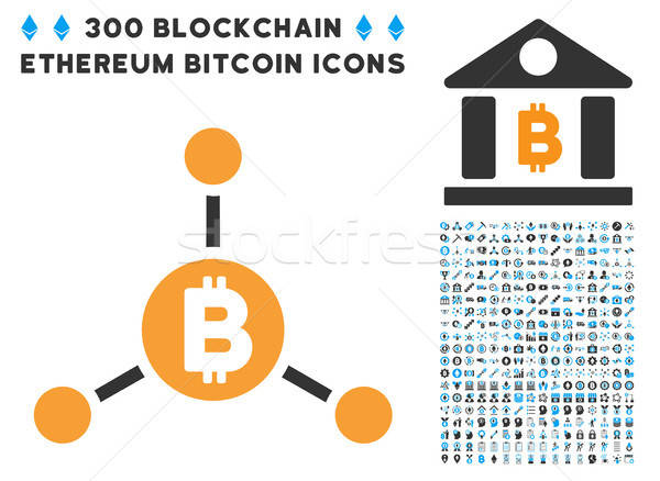 Bitcoin Links Flat Icon with Set Stock photo © ahasoft