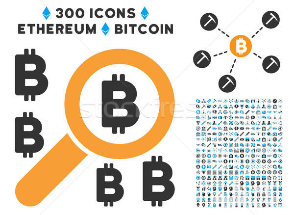 Find Bitcoin Flat Icon with Clip Art Stock photo © ahasoft