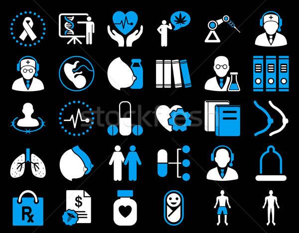 Сток-фото: медицинской · иконки · синий · белый · цветами