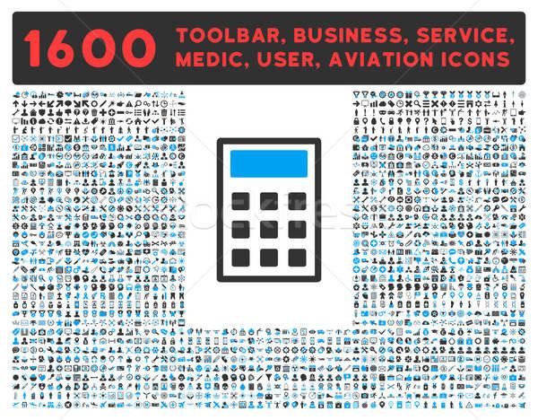 Calculadora ícone grande pictograma coleção vetor Foto stock © ahasoft