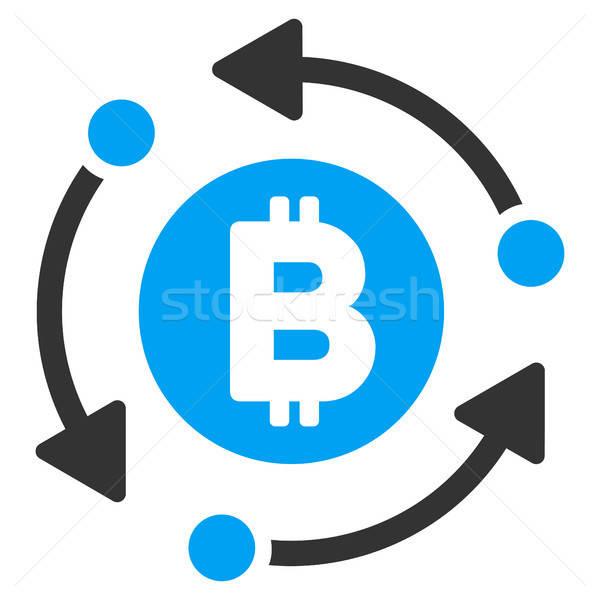 Bitcoin rotáció nyilak ikon vektor alkalmazás Stock fotó © ahasoft