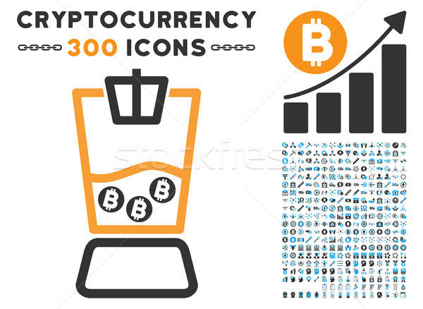 Bitcoin Blender Flat Icon with Stock photo © ahasoft