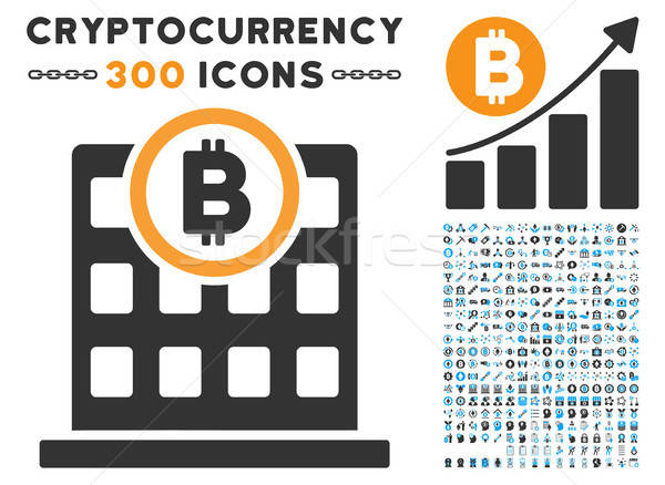 Bitcoin Corporation Building Flat Icon with Stock photo © ahasoft