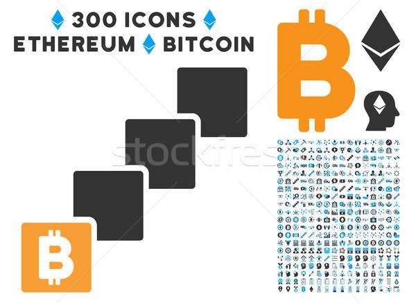 Bitcoin Blockchain Flat Icon with Set Stock photo © ahasoft
