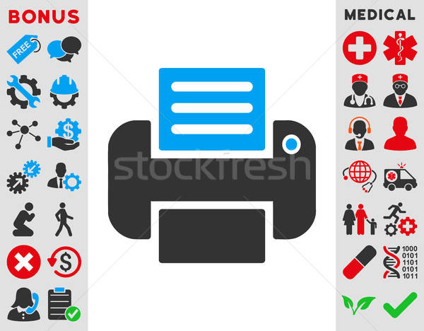 Impresión icono vector estilo símbolo azul Foto stock © ahasoft