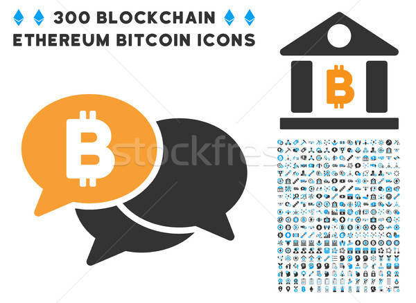 Bitcoin Webinar Messages Flat Icon with Collection Stock photo © ahasoft