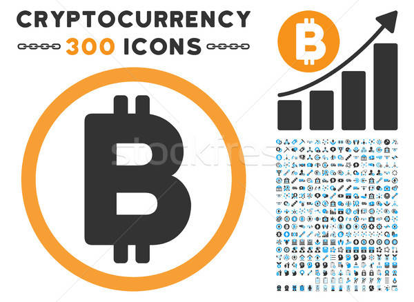 Bitcoin Rounded Flat Icon with Set Stock photo © ahasoft