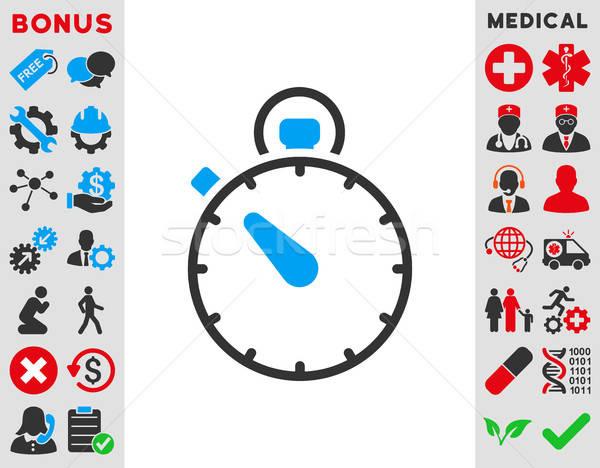 Stopperóra ikon vektor ikon stílus szimbólum kék Stock fotó © ahasoft