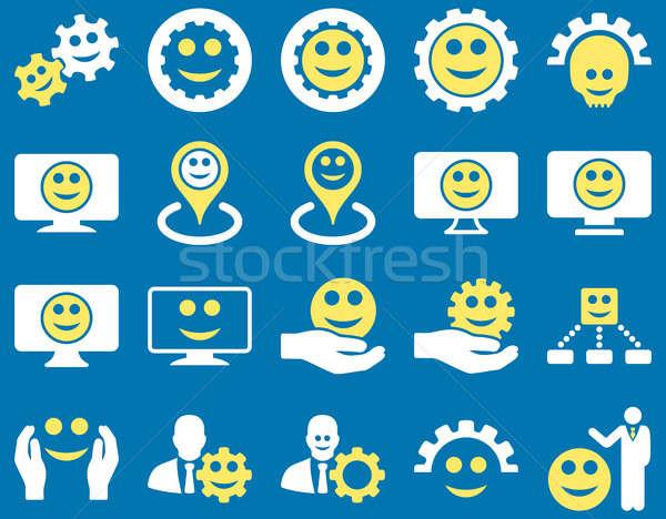 Szerszámok sebességváltó mosoly térkép ikonok szett Stock fotó © ahasoft