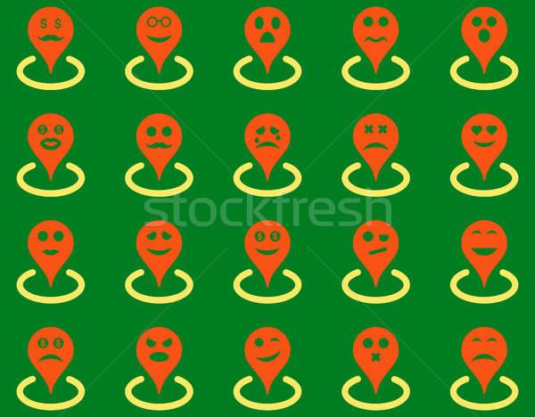 Stock photo: Smiled location icons