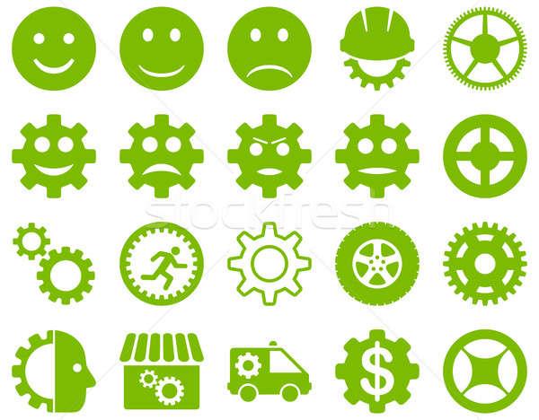 Stockfoto: Tools · glimlach · versnellingen · iconen · ingesteld · stijl