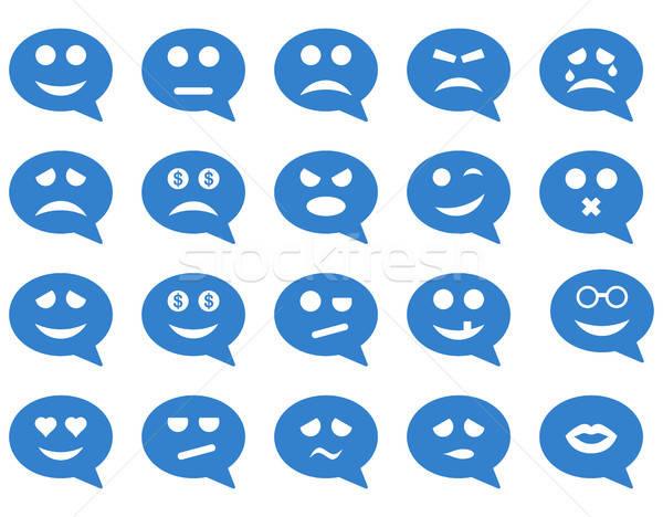 Chat emotie glimlach iconen vector ingesteld Stockfoto © ahasoft