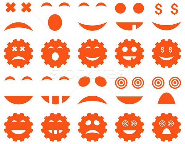 Szerszám viselet mosoly érzelem ikonok vektor Stock fotó © ahasoft