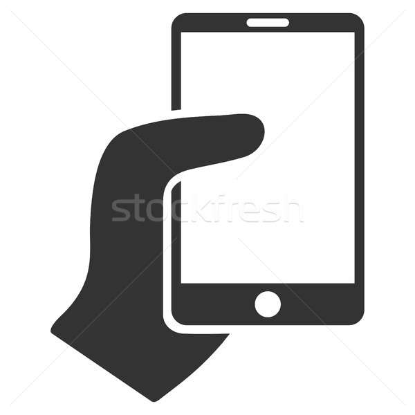 Hand Hold Smartphone Flat Raster Icon Stock photo © ahasoft