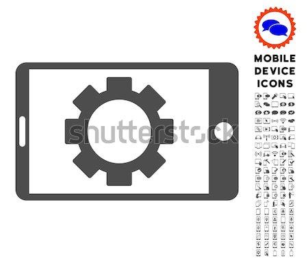 Mobile Settings Gear Flat Raster Icon Stock photo © ahasoft