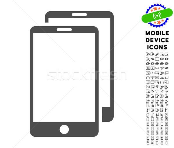 Smartphones Icon with Set Stock photo © ahasoft