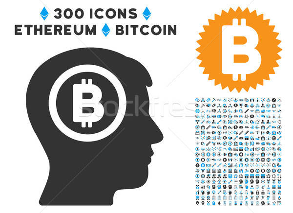 Bitcoin Thinking Head Flat Icon with Collection Stock photo © ahasoft