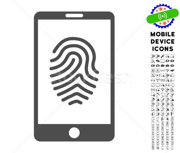 Okostelefon ujjlenyomat ikon gyűjtemény ikon mobiltelefon piktogram Stock fotó © ahasoft