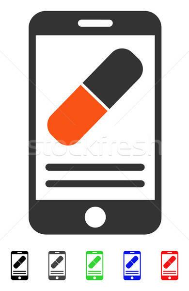 Medication Online Information Flat Icon Stock photo © ahasoft