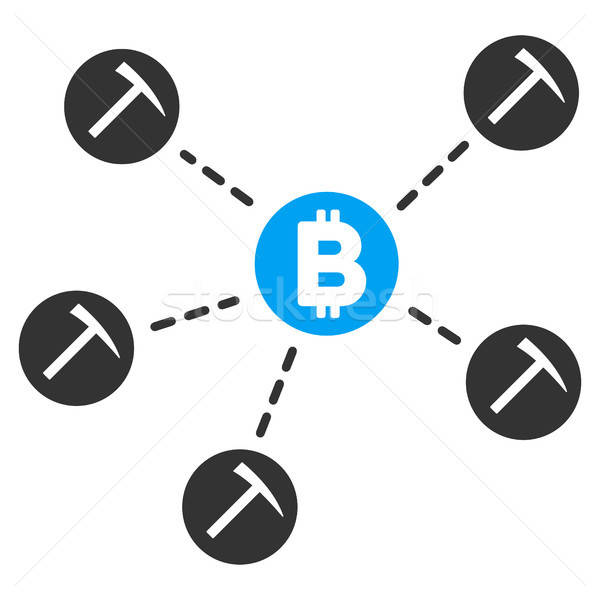 Bitcoin Mining Pool Flat Icon Stock photo © ahasoft