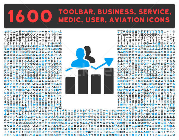 Audience Graph Icon with Large Pictogram Collection Stock photo © ahasoft