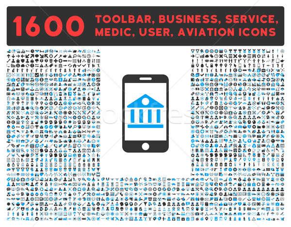 Mobil bank ikon nagy piktogram gyűjtemény Stock fotó © ahasoft