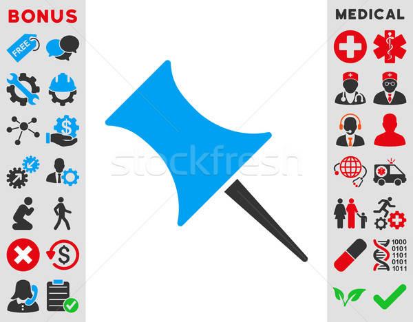 Pin icono vector estilo símbolo azul Foto stock © ahasoft
