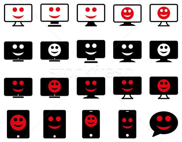 Smiles, monitors, mobile icons Stock photo © ahasoft
