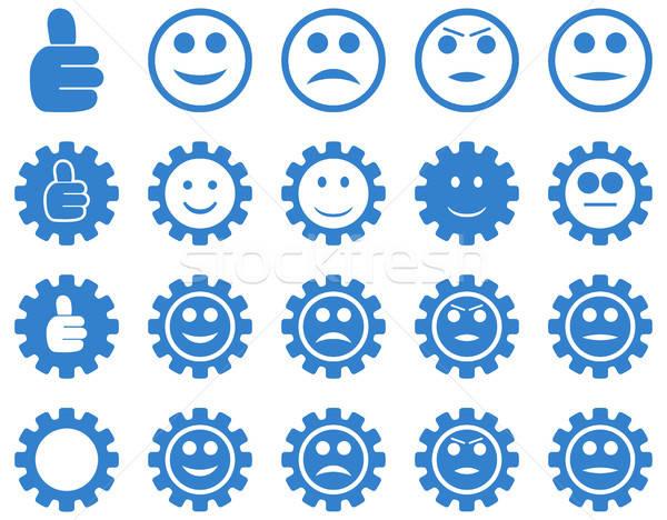 Gülümseme dişliler simgeler vektör ayarlamak Stok fotoğraf © ahasoft