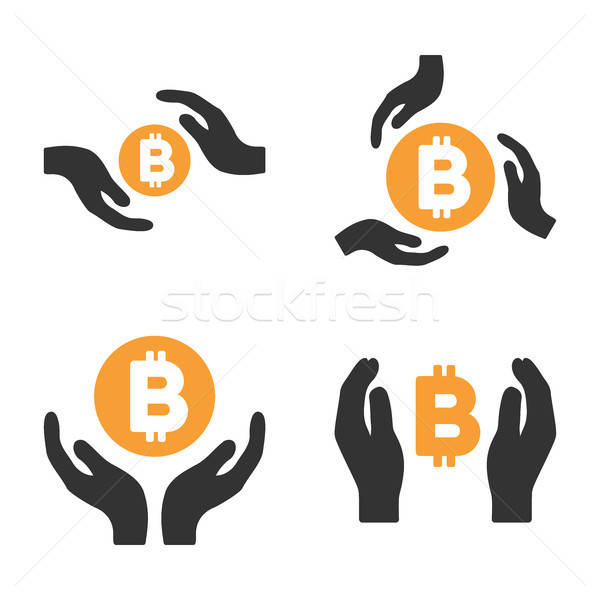 Bitcoin Care Hands Vector Icon Set Stock photo © ahasoft