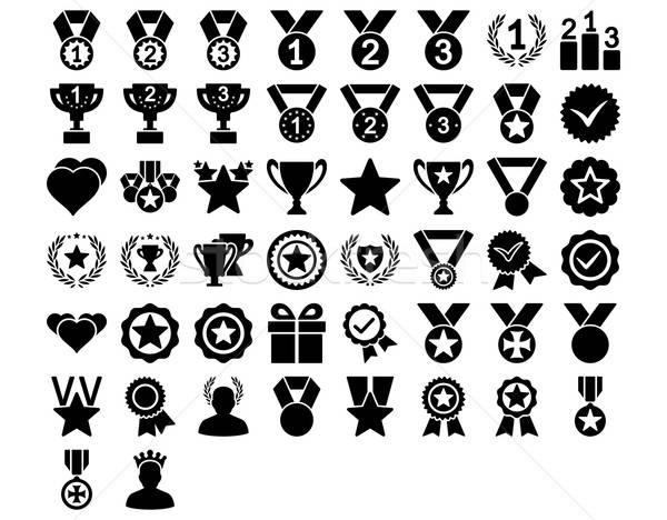 Concurrentie iconen zwarte kleur vector Stockfoto © ahasoft