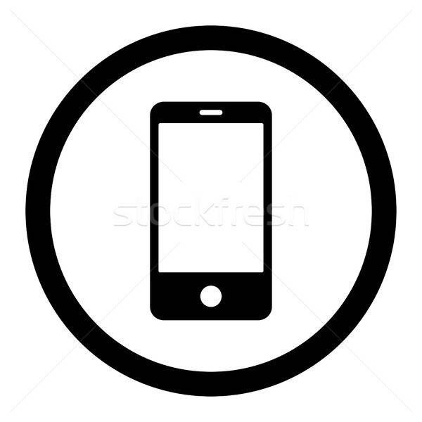 Smartphone flat black color rounded vector icon Stock photo © ahasoft