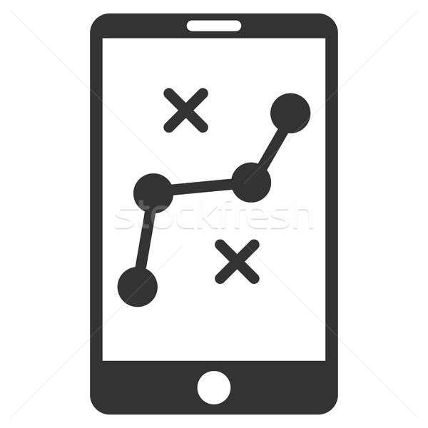 мобильных навигация маршрут икона серый символ Сток-фото © ahasoft