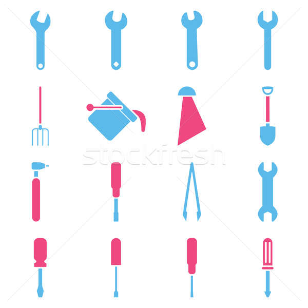 Tools stijl symbolen roze Blauw Stockfoto © ahasoft