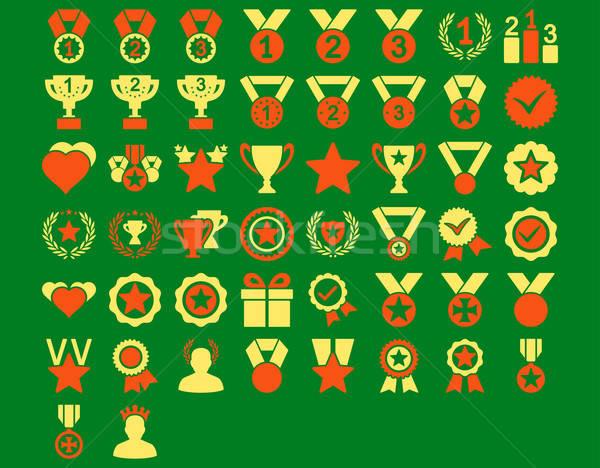 конкуренция иконки оранжевый желтый цветами Сток-фото © ahasoft