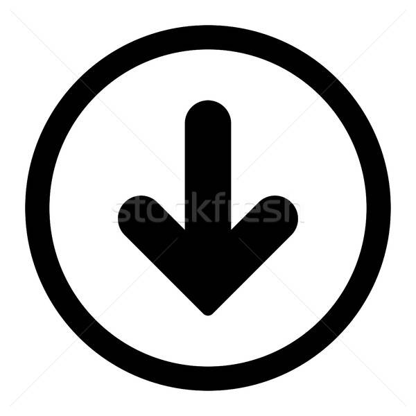 Arrow Down flat black color rounded vector icon Stock photo © ahasoft