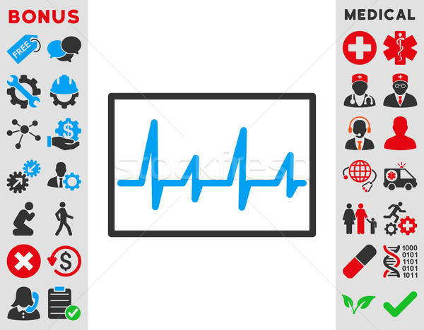 Cardiograma ícone vetor estilo símbolo azul Foto stock © ahasoft