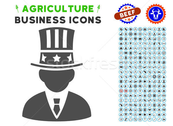Capitalist Icon with Agriculture Set Stock photo © ahasoft