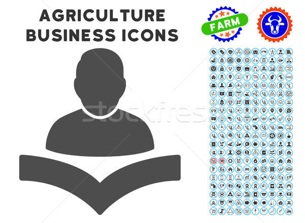 Reader Boy Icon with Agriculture Set Stock photo © ahasoft