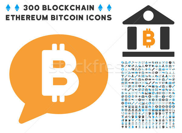 Bitcoin Message Flat Icon with Clip Art Stock photo © ahasoft