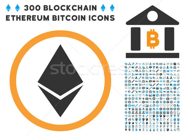 Ethereum Rounded Flat Icon with Collection Stock photo © ahasoft