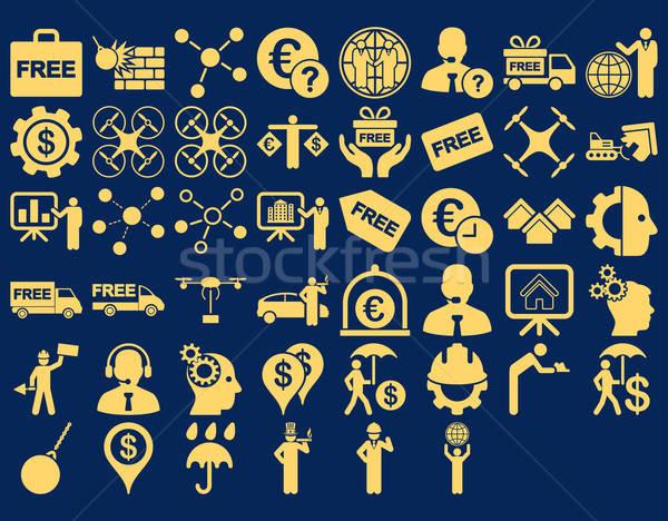 üzlet ikon gyűjtemény ikonok citromsárga szín vektor Stock fotó © ahasoft