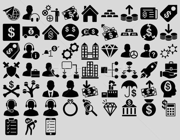Commerce iconen zwarte kleur vector Stockfoto © ahasoft