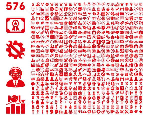 иконки красный цвета изолированный Сток-фото © ahasoft